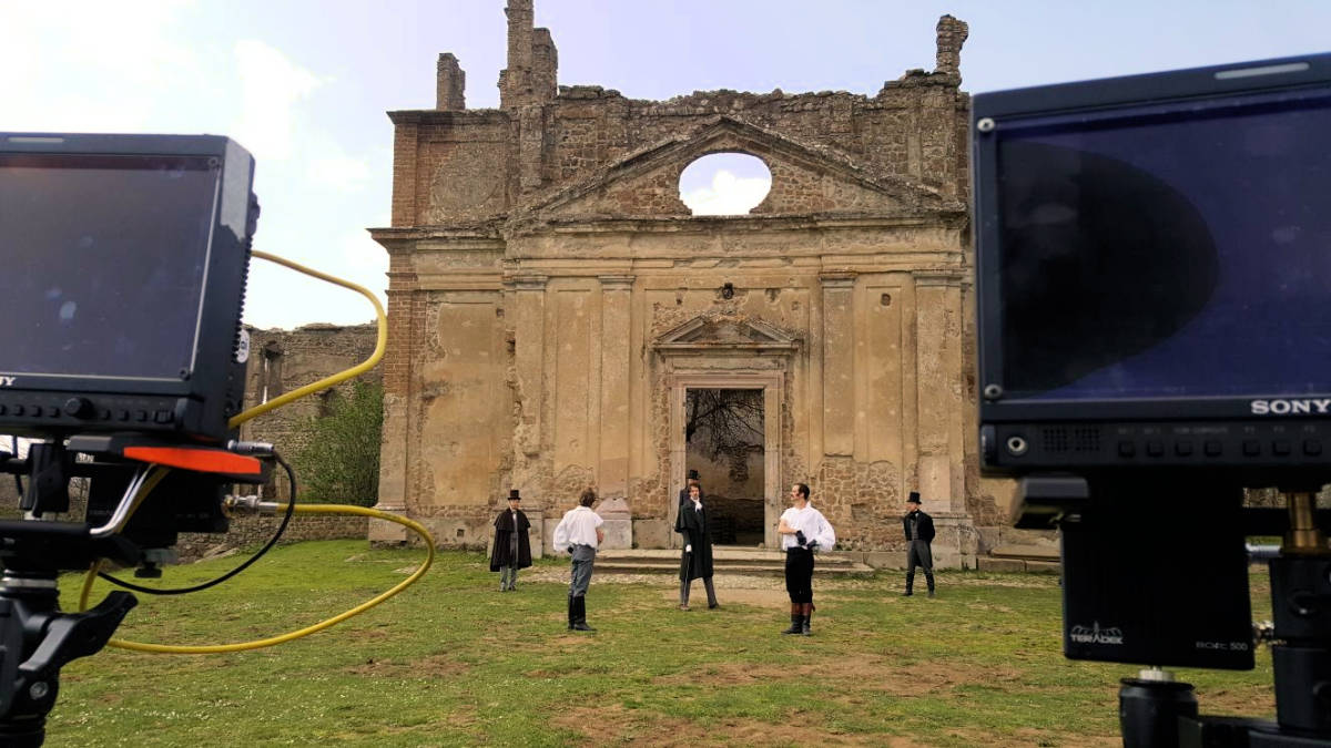 La chiesa di San Bonaventura di Monterano scenario per Ulisse il 7 aprile