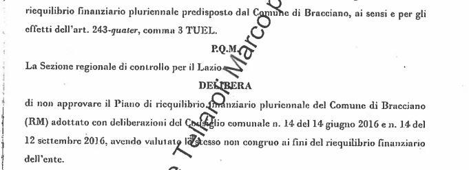 Bracciano: Opposizioni dopo la bocciatura del Piano di Riequilibrio chiedono le dimissioni del sindaco Tondinelli