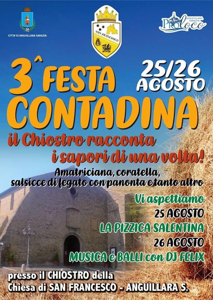 """Anguillara Il Rione San Francesco propone per il fine settimana  """"La Festa Contadina – Il Chiostro racconta i sapori di una volta"""""""
