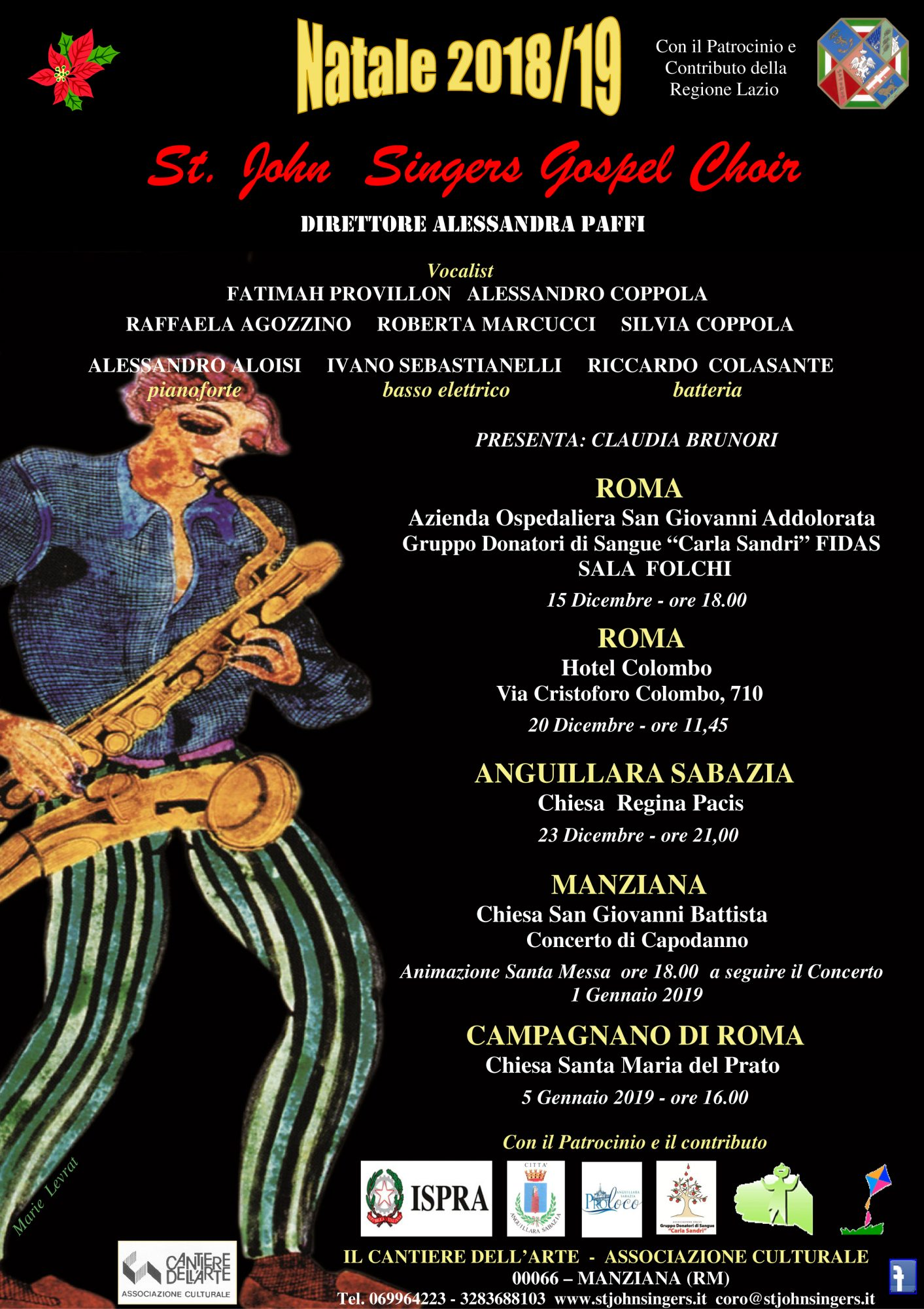 St John's Singer: al via con il contributo della Regione Lazio la stagione da cinque concerti spiritual-gospel