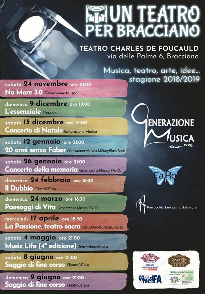 Prosegue la stagione di un Teatro per Bracciano: il 12 gennaio spettacolo dedicato a  De André