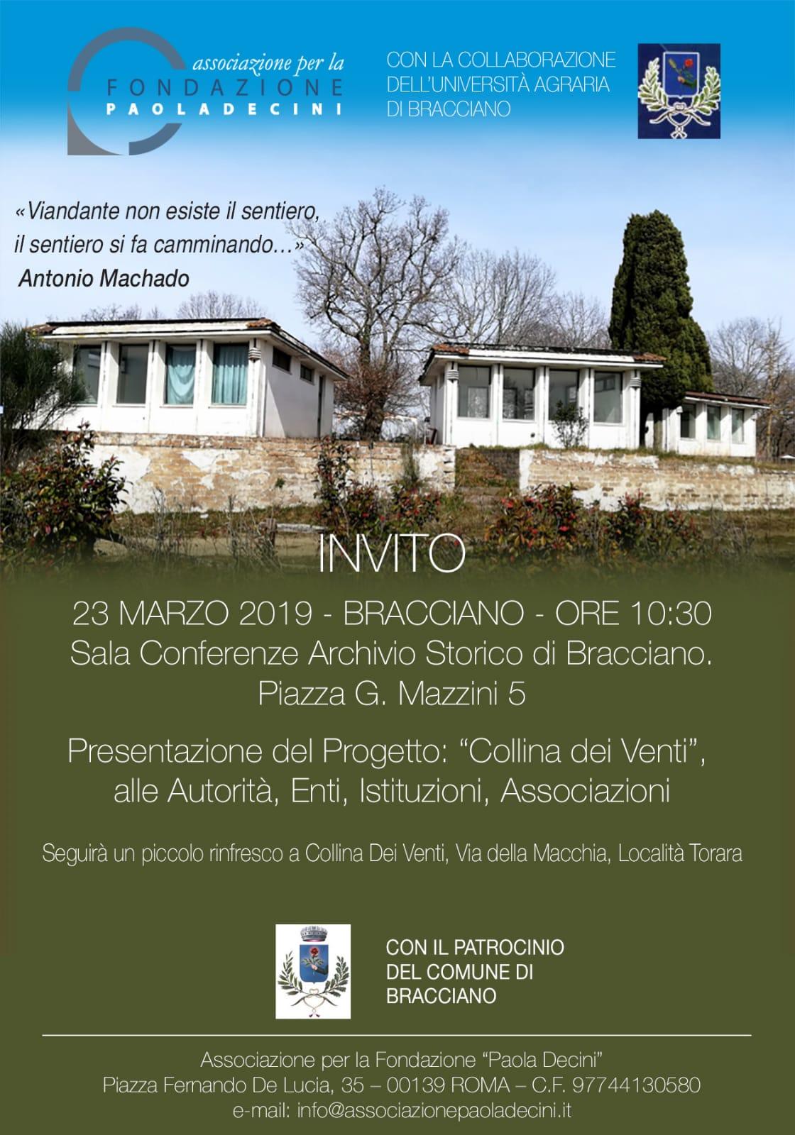 """Donne: Università Agraria di Bracciano protagonista del progetto """"Collina dei Venti"""""""
