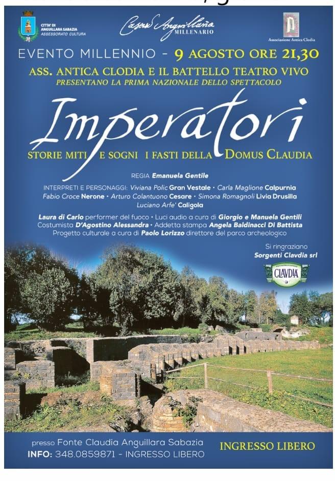 Anguillara: per il Millenario il 9 agosto lo spettacolo Imperatori alla villa romana dell'Acqua Claudia