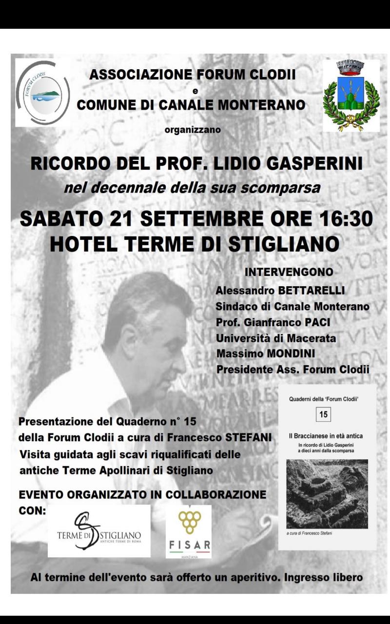Il 21 settembre a Stigliano Forum Clodii ricorda Lidio Gasperini