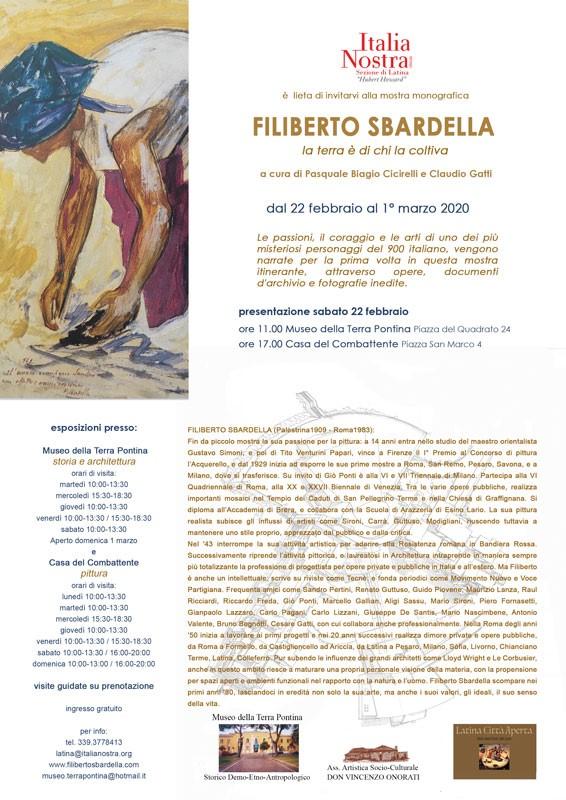 Italia Nostra Latina: In una mostra monografica la straordinaria figura di Filiberto Sbardella. Dal 22 febbraio al 1° marzo